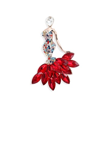 Glamorousky red Fashion Bright Plated Rose Gold Mermaid Brooch with Red Cubic Zirconia FF959ACB24A895GS_1