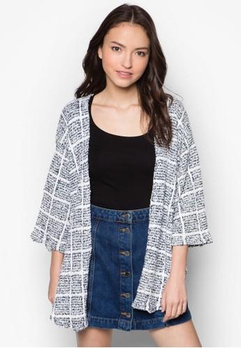 寬版zalora時尚購物網的koumi koumi格紋開襟外套, 服飾, 服飾