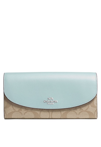 Coach brown and blue Slim Envelope Wallet (cv) A6F86AC44EBA64GS_1