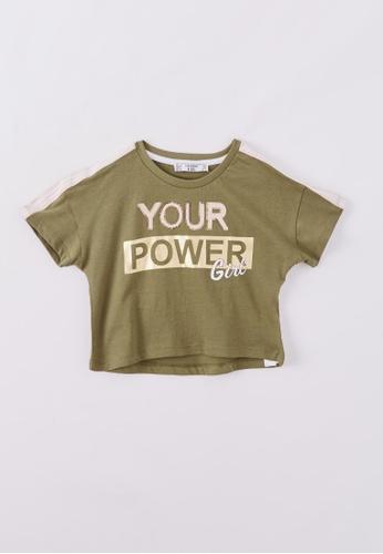 Terranova green Girls' Crop T-shirt With Slogan 5BFFAKAA0BEE47GS_1