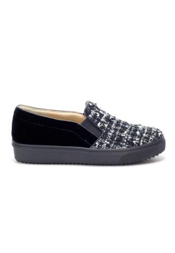 Shu Talk black Trendy Tweed Fabric Slip-Ons SH397SH0GQORSG_1