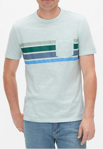 GAP blue Lived-In Stripe T-Shirt 131FEAA333DC83GS_1