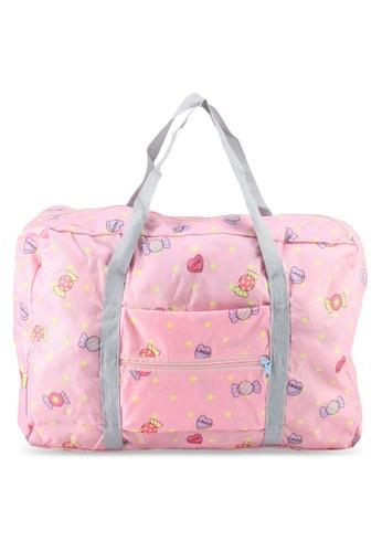 Bagstationz pink Printed Foldable Travel Bag E746AAC034B89DGS_1