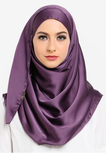 Soonaru purple Water Bloom Satin Shawl SO016AA12GFFMY_1