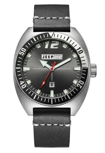Jeep Spirit Mutifunction Men's Watch JPS50202 Black Silver Black Leather