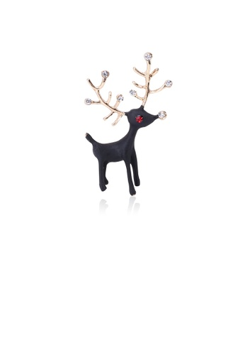 Glamorousky white Simple and Cute Plated Gold Black Deer Brooch with Cubic Zirconia 31D4EAC1A5AD6BGS_1