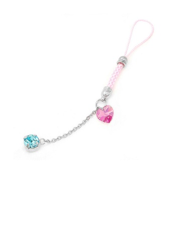 Glamorousky blue Pink Strap with Pink Heart Crystal Glass and Blue Austrian Element Crystal Tassols DD0C8AC79154EFGS_1