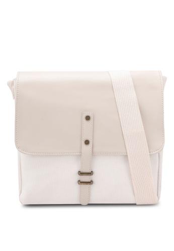 ZALORA white Minimalistic Mix Materials Flight Bag E15ECAC4E148A1GS_1
