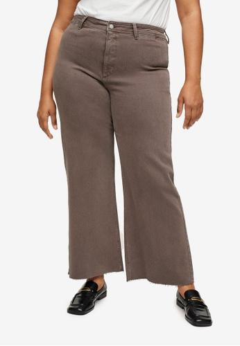 Violeta by MANGO green Plus Size High Waist Culotte Jeans D924CAA0CE2BA8GS_1