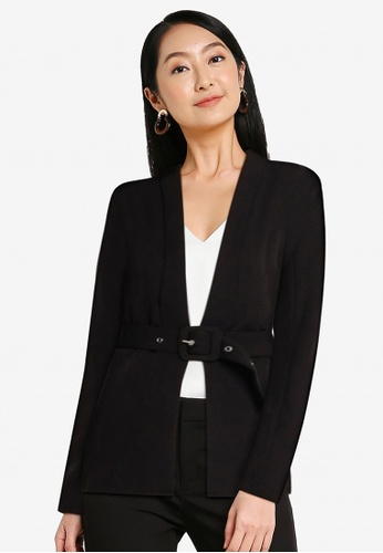 ZALORA WORK black Lapel Blazer With Belt DE46CAA91C7E80GS_1