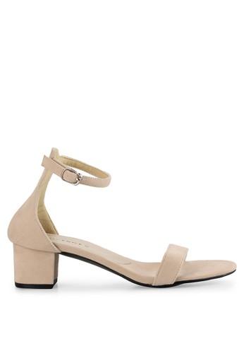 Vencedor beige Strap Block Heel in Cream VE205SH0U7FUID_1