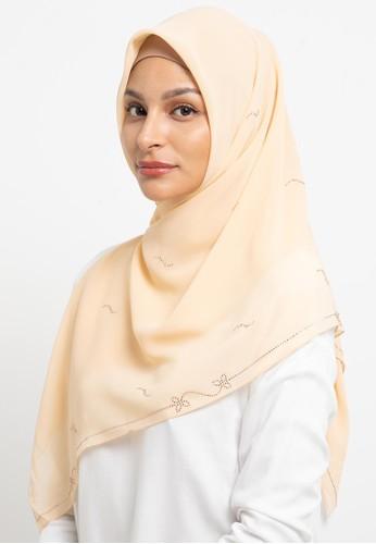 KASHKHA beige Hijab Chiffon Stone Work Logo 64117AA1039885GS_1