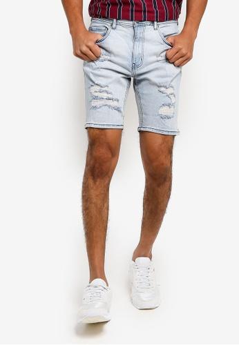 Cotton On 藍色 刷破丹寧牛仔短褲 1A92BAA07D3195GS_1