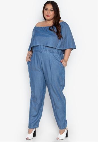 72d04529c18 Shop Flaunt Plus Plus Size Off-Shoudler Jumpsuit Online on ZALORA ...