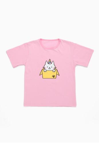 Savvaya pink Savvaya Pinky Cat Tshirt B0CCFKABB86F67GS_1