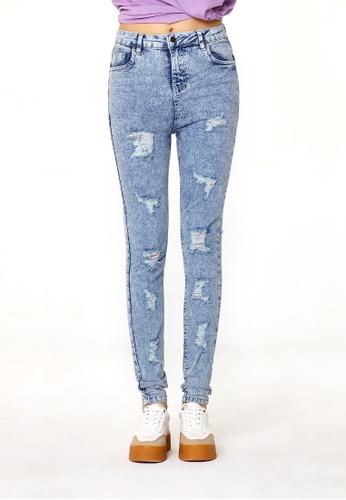 London Rag blue Light Blue Acid Wash Distressed Jeans 5EF27AA09CF725GS_1