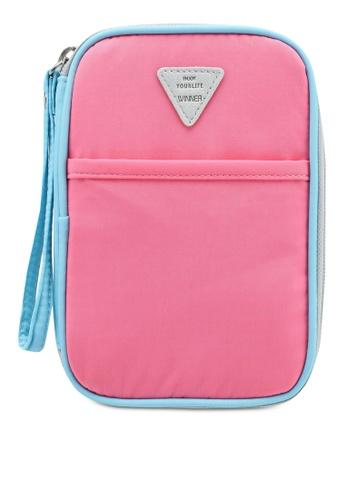 Bagstationz pink Colour Block Travel Zip-Up Passport Pouch 0933FAC091DCDBGS_1