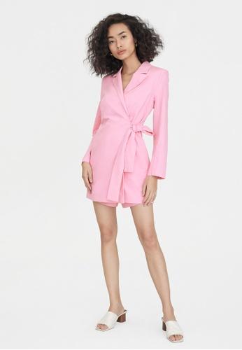 Pomelo pink Side Tie Wrap Romper - Pink 9A528AA78790BFGS_1