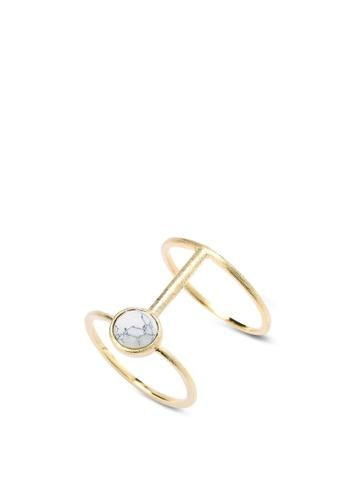 Wanderlust + Co gold Sigma XL Gold & Marble Ring WA415AC40DZJMY_1