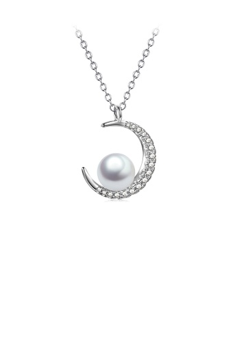 Glamorousky white 925 Sterling Silver Fashion Simple Moon Imitation Pearl Pendant with Cubic Zirconia and Necklace D7539ACA65A184GS_1