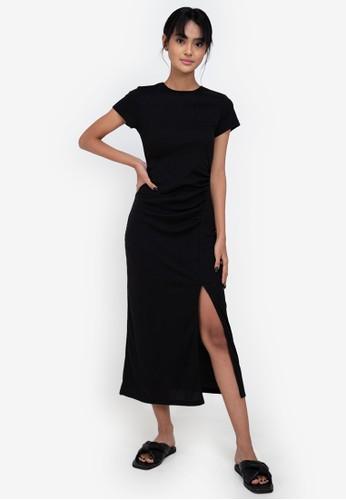 ZALORA BASICS black Side Ruched Cap Sleeve Midi Dress FA8FDAA47BE6FDGS_1