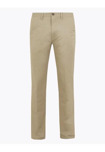 MARKS & SPENCER beige M&S Regular Fit Stretch Chinos 3B6FFAAE549B54GS_1