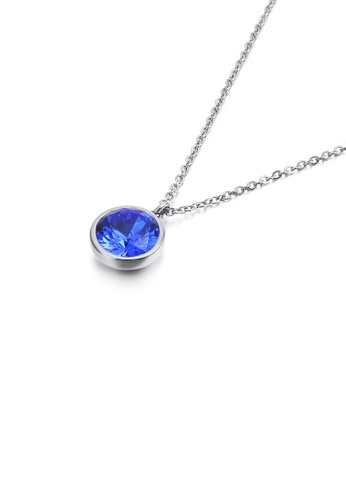 Glamorousky blue Simple and Fashion Geometric Round Blue Cubic Zirconia 316L Stainless Steel Pendant with Necklace CEC92ACA16F10BGS_1