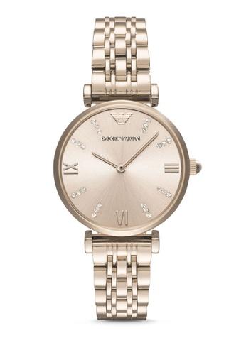 Emporio Armani pink ARMANI Gianni T-Bar Pink Watch AR11059 AR024AC0S0DHMY_1