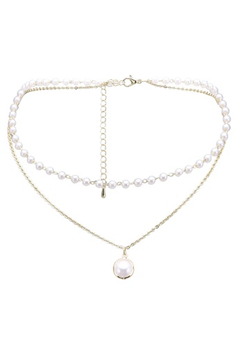 Red's Revenge white Pearls In A Row Choker Necklace E26D0ACE6754B8GS_1