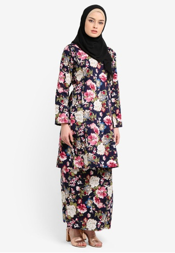 Azka Collection multi and navy English Cotton Baju Kurung AZ019AA0RTSRMY_1