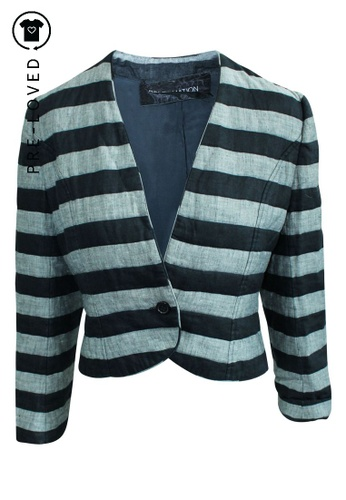 Reformation black Pre-Loved reformation Short Striped Jacket FF53EAAFCD114AGS_1