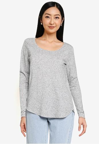 JACQUELINE DE YONG grey Linette Long Sleeve Top 4E6F3AAB545D84GS_1