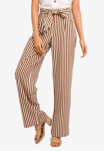 Mango brown Straight Striped Trousers DF0AAAA377D9F8GS_1