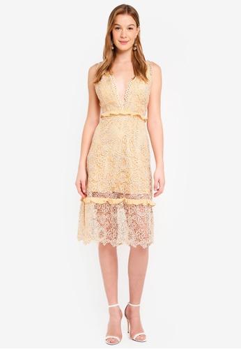 True Decadence gold Floral Lace Dress DA739AA05873FAGS_1