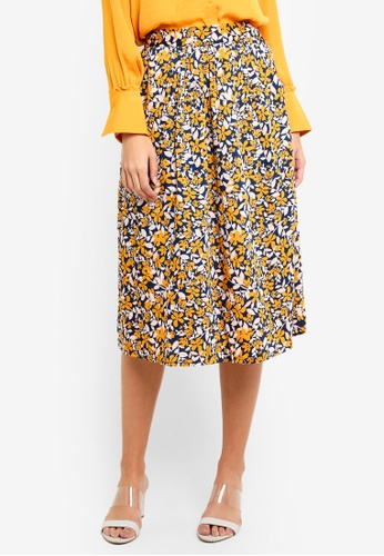 Vero Moda yellow and multi Billia Calf Skirt 36322AA788E87DGS_1