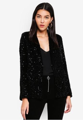 Miss Selfridge black Sequin Velvet Blazer D2860AA1EC62DCGS_1