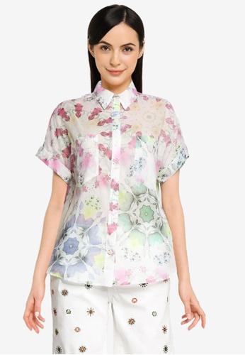 Desigual white Short Sleeves Pastel Print Shirt 69A48AAD23AB36GS_1