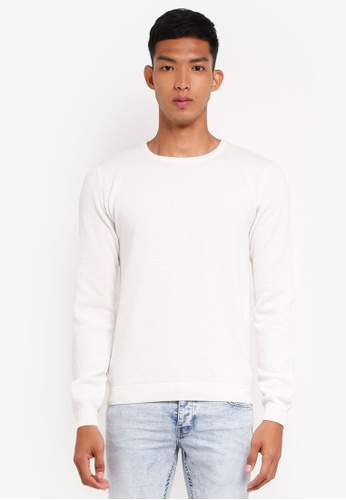 !Solid white Gyden Cotton Knit Sweater AA819AA290FE04GS_1