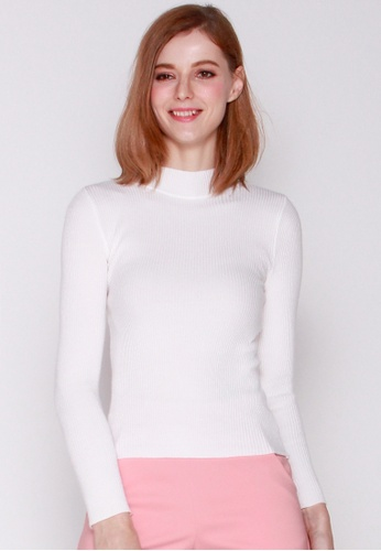 JOVET white Ribbed Turtleneck Knit Top C1124AA17D1CC6GS_1