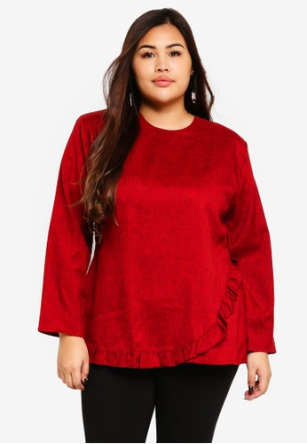 Gene Martino red Plus Size Muslimah Top 5D17AAAC577011GS_1