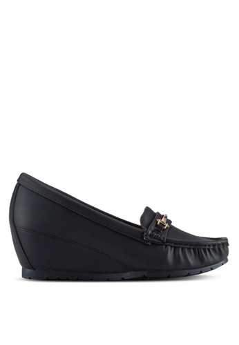 Noveni black Wedged Loafers NO978SH69VTUMY_1