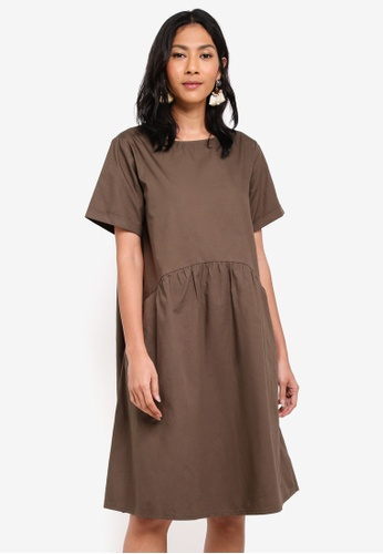 OVS green Woven Dress With Pockets 87A33AA3704631GS_1