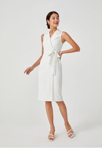 Love, Bonito white Merida Pinstripe Tailored Midi Dress E3CB1AAFEA0C4FGS_1
