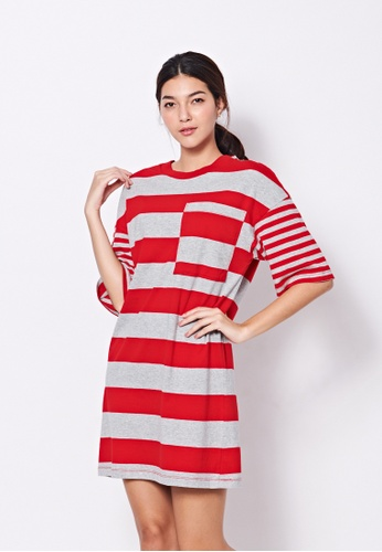 United Colors of Benetton red Striped Dress D9566AA9CA949FGS_1