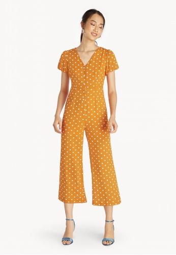b5d2d8cdbea Pomelo orange Puff Sleeves Button Down Polka Jumpsuit - Orange  20B73AABB52B8DGS 1