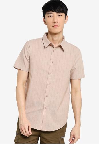 ZALORA BASICS beige Short Sleeve Striped Shirt BD031AAB69F211GS_1