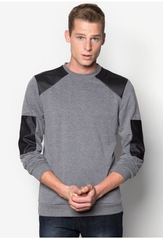 PU Patch Sleeve Pullover
