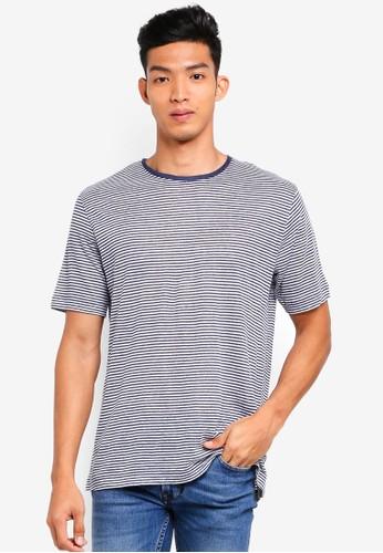 MANGO Man blue Striped Linen T-Shirt 20E87AAE274E8AGS_1