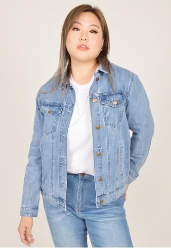 Cheetah blue Arissa Plus Size Denim Jacket - ARS-3038 78673AA0D882AEGS_1