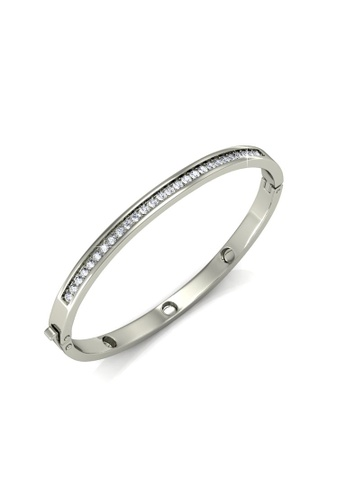 Her Jewellery Her Jewellery Classic Bangle (White Gold) with Premium Grade Crystals from Austria HE210AC98KHDSG_1